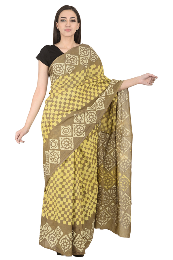 Olive Green-Yellow and Off White Cotton Block Print Saree -20111