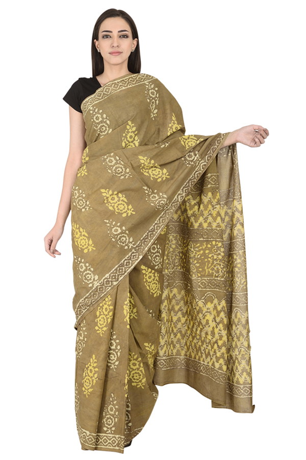 Olive Green-Yellow and White Floral Design Cotton Block Print Saree-20114