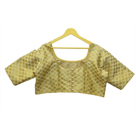 Olive Green and Golden Leaf Silk Brocade Blouse-30125