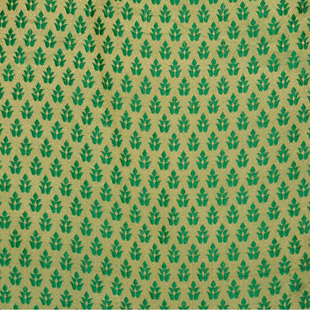 Olive Green and Golden leaf pattern brocade silk fabric-4598