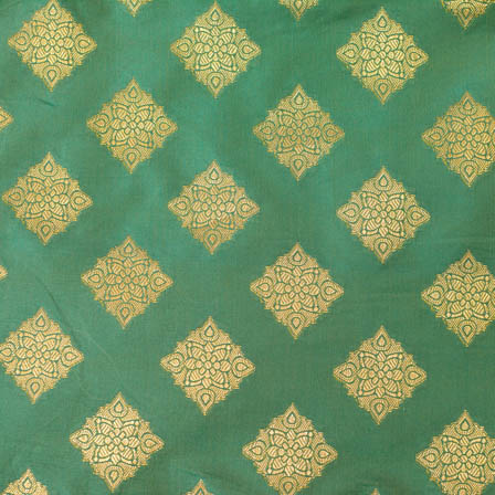 Olive Green and Star printed flower shape brocade silk fabric-4643