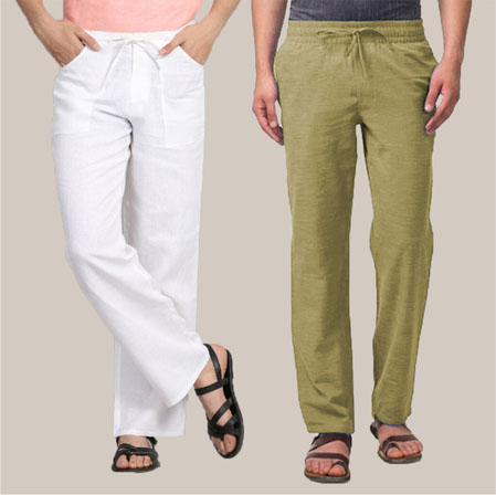 Combo of 2 Cotton Men Handloom Pant Olive Green and White-35964