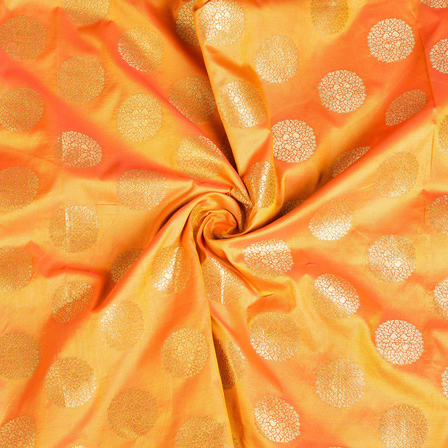 Orange and Golden Circular Brocade Silk Fabric-8531