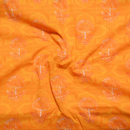 Orange Block Print Cotton Fabric-14608