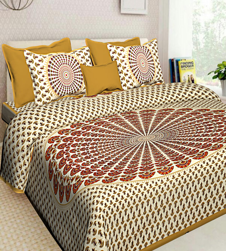Orange Beige Cotton Jaipuri Bedsheet-651