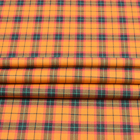 Orange Black Check Wool Fabric-90121