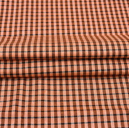 Orange Black Checks Cotton Handloom Fabric-42224