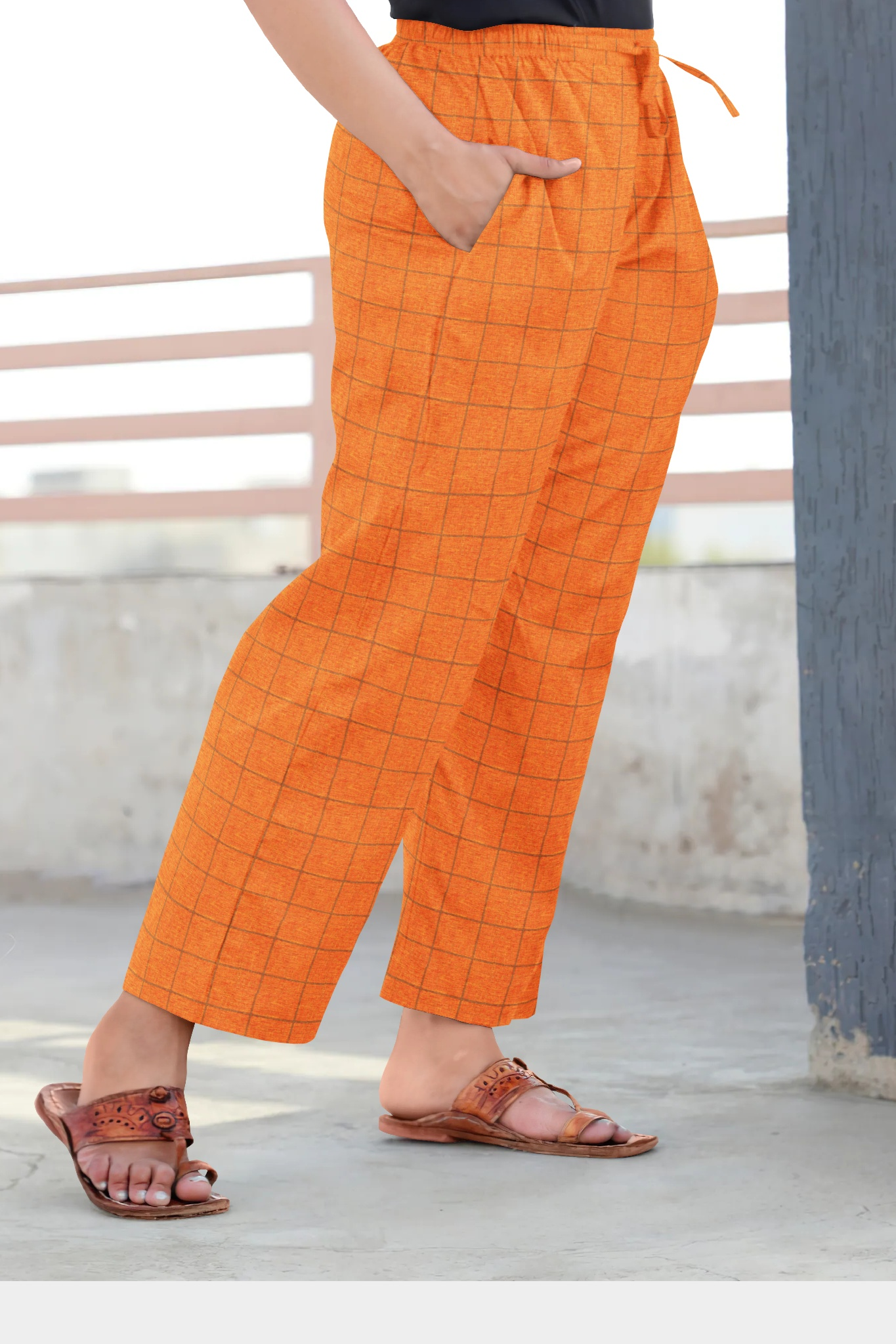 Orange Black Cotton Regular Check Pant-35317