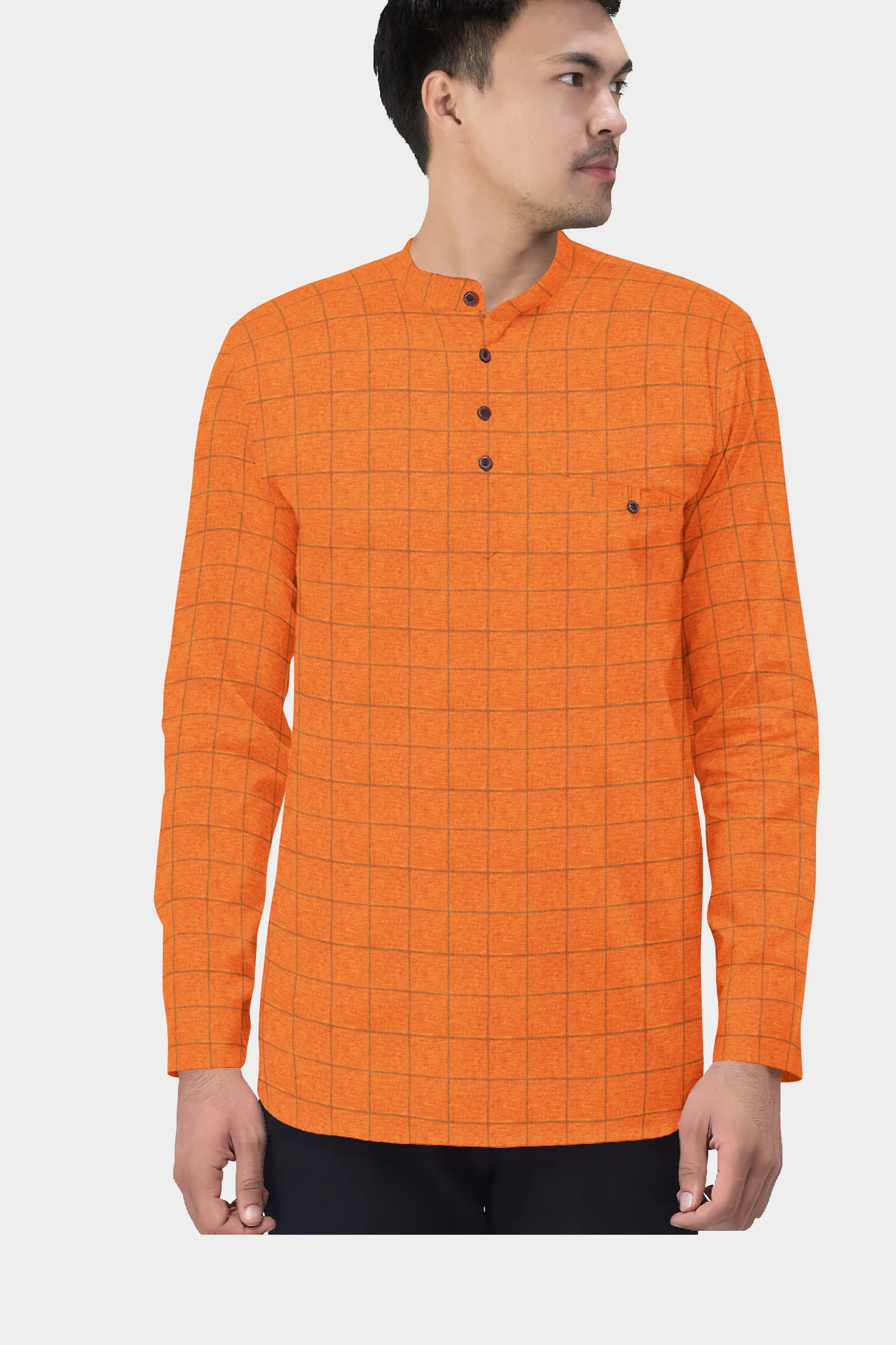 Orange Black Cotton Check Short Kurta-35448