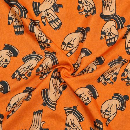 Orange Black Hand-Mudra Print Manipuri-Silk Fabric-18088