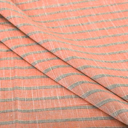 Orange Black Stripe Handloom Cotton Fabric-40904