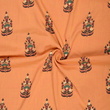 Orange-Black and Golden Floral Design Rayon Slub Fabric-75093