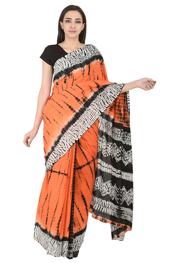 Orange-Black and White Cotton Tie Dye Print Saree-20122