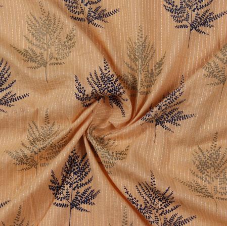 Orange Blue Block Print Cotton Fabric-16213