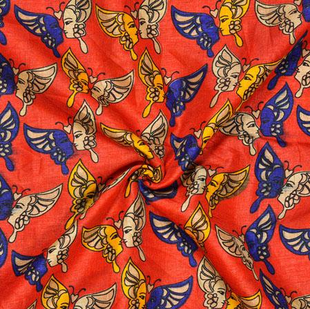 Orange Blue Butterfly Print Manipuri-Silk Fabric-18010