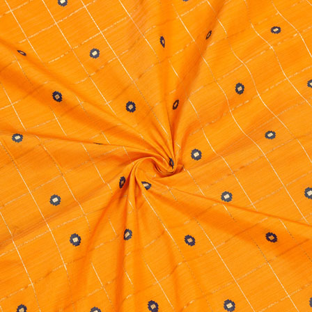 Orange Blue Checks Zari Taffeta Silk Fabric-12309