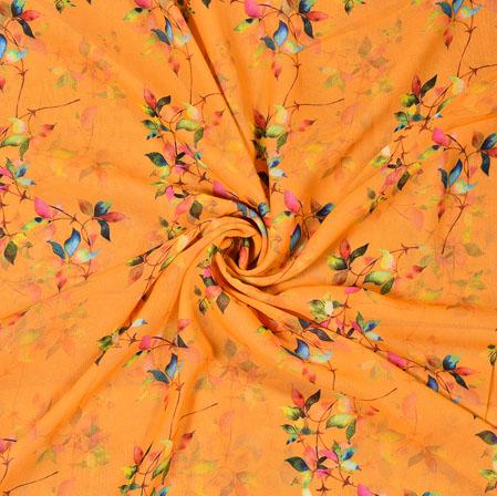 Orange Blue Digital Flower Print Georgette Fabric-41180