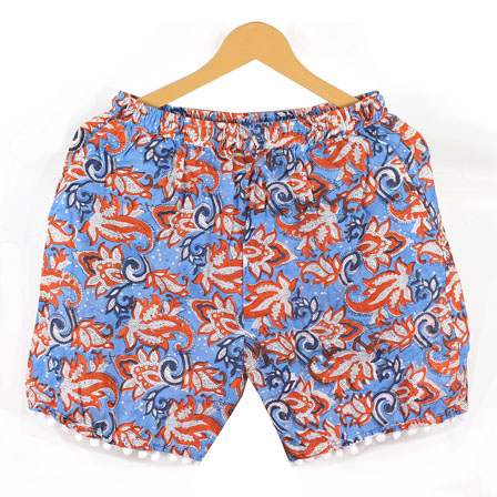 Orange Blue Flower Cotton Block Print Short-14652