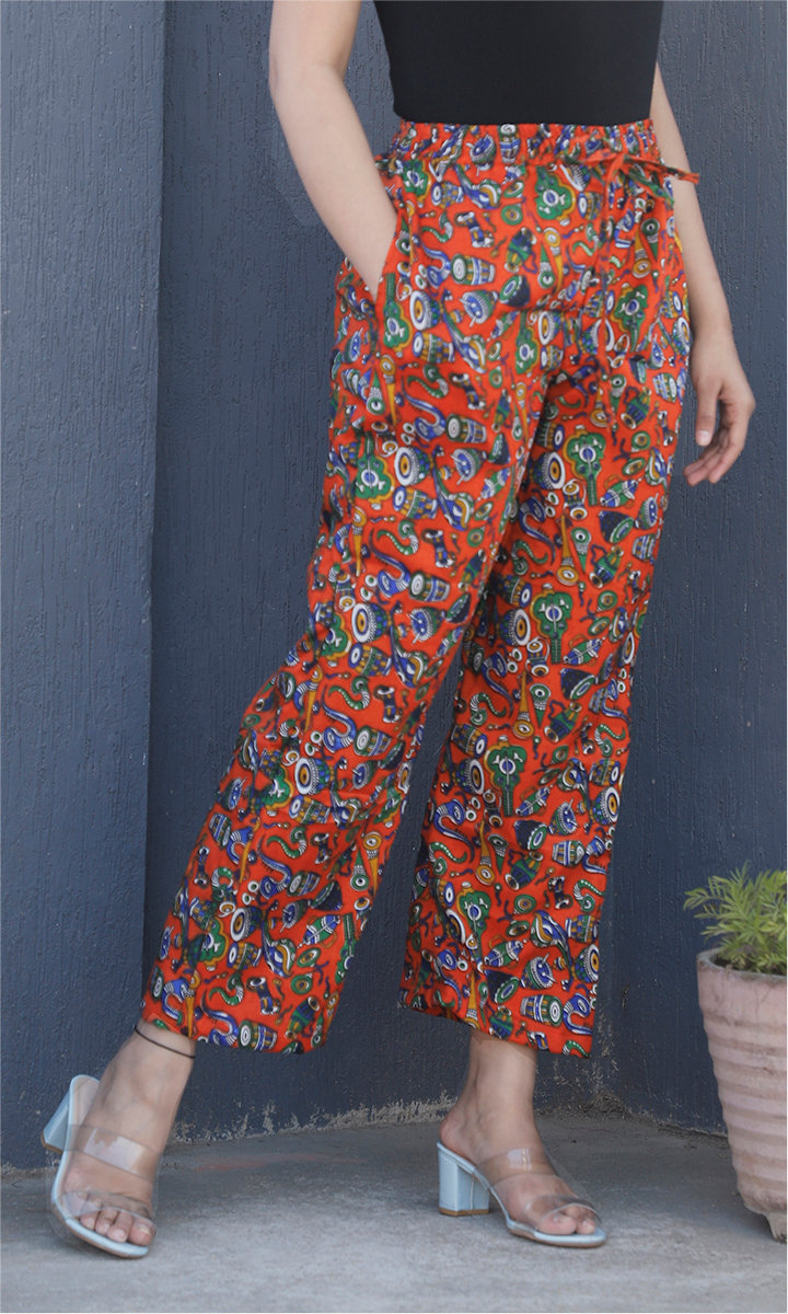 Orange Blue Manipuri Silk Musical Instrument Palazzo Pant-34507