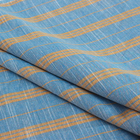 Orange Blue Stripe Handloom Cotton Fabric-40917