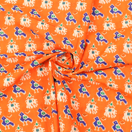 Orange-Blue and Cream Elephant Design Kalamkari Cotton Fabric-10011