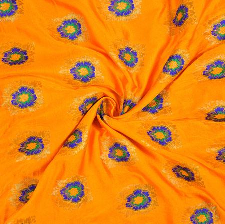 Orange Blue and Golden Floral Satin Brocade Meena Fabric-12934