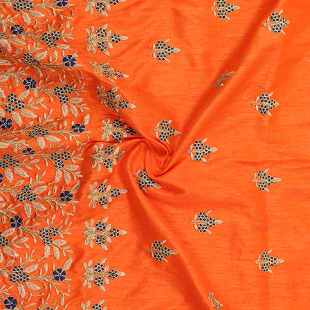 Orange-Blue and Golden Flower design Silk Embroidery Fabric-60228