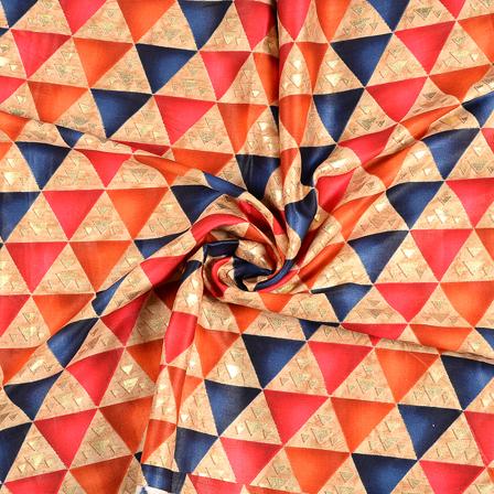 Orange-Blue and Golden Triangle Design Jam Cotton Silk Fabric-75053