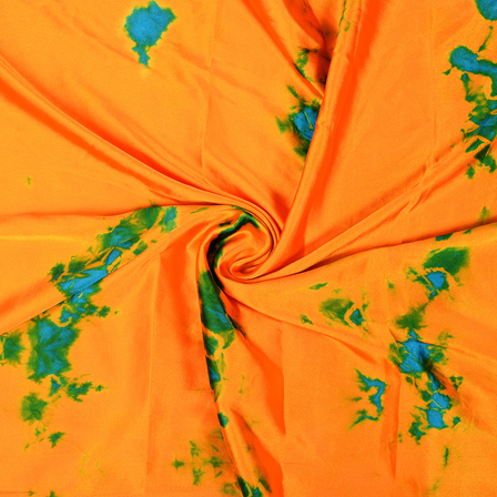 Orange-Blue and Green Batik Satin Fabric-32045