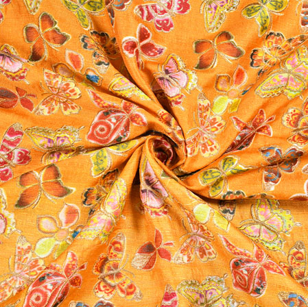 Orange Blue and Green Butterfly Georgette Fabric-19360