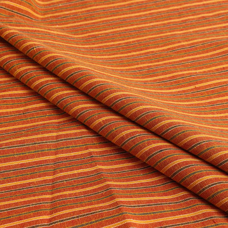 Orange Blue and Green Stripe Handloom Cotton Fabric-40907