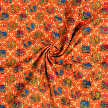 Orange-Blue and Maroon Elephant and Peacock Kalamkari Manipuri Silk Fabric-16249