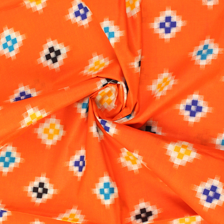 Orange-Blue and Yellow Square Design Cotton Kalamkari Fabric-10025