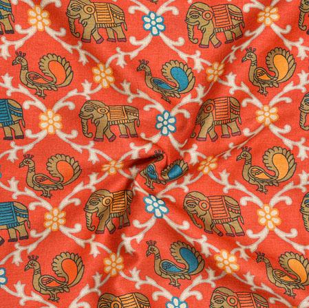 Orange Brown Peacock Print Manipuri-Silk Fabric-18013