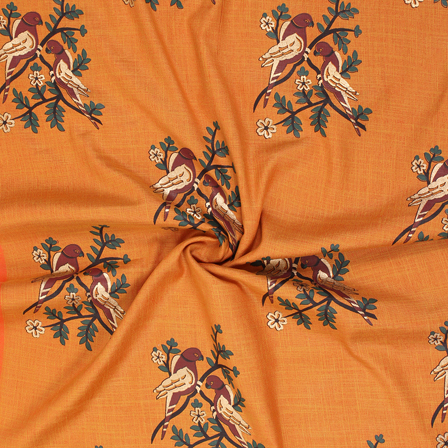 Orange-Brown and Golden Bird Jam Cotton Silk Fabric-75169