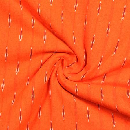 Orange Brown and White Ikat Cotton Fabric-11012