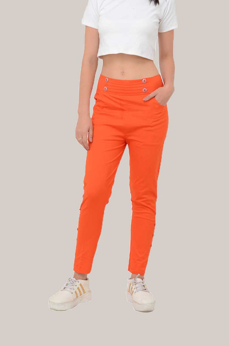 Orange Cotton Lycra Roll Up Pant-33497