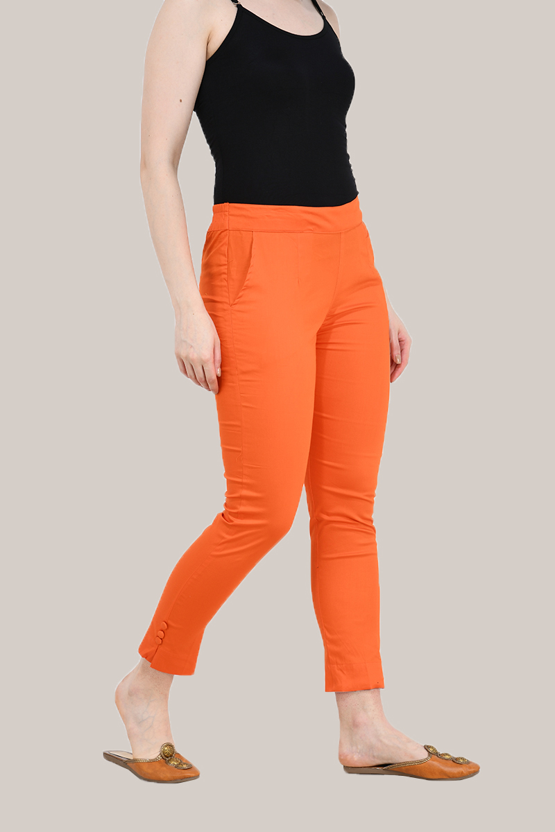 Orange Cotton Lycra Trippy Pant-33511