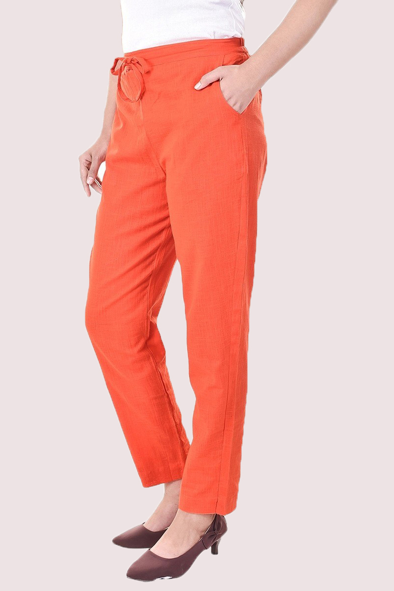 Orange Cotton Slub Solid Women Pant-33286