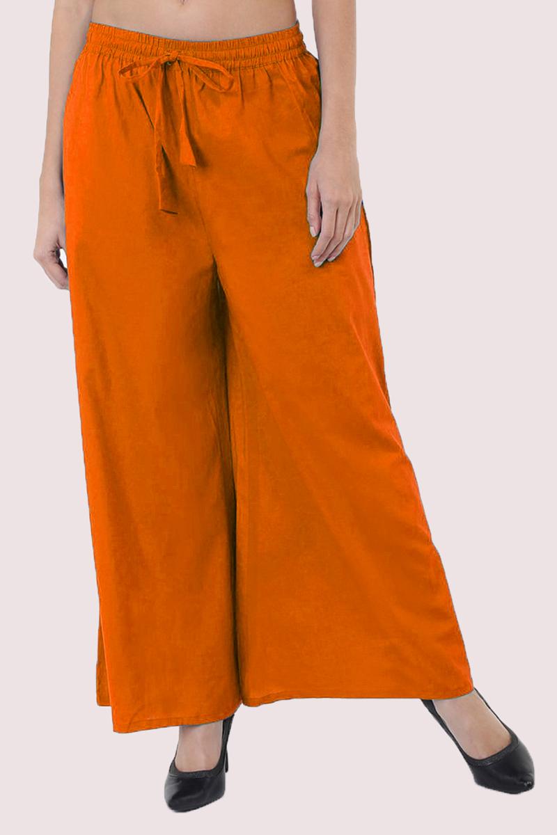 Orange Cotton Solid Women Palazzo-33302