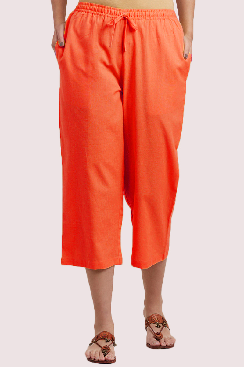 Orange Cotton Solid Women Culottes-33324