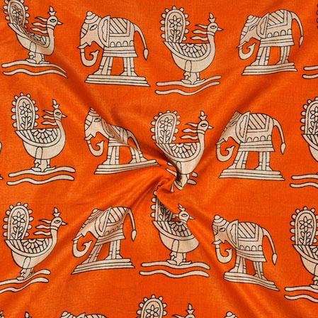 Orange Cream Animal Print Manipuri-Silk Fabric-18004