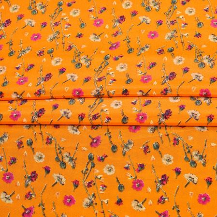 Orange Cream Digital Flower Print Georgette Fabric-41176