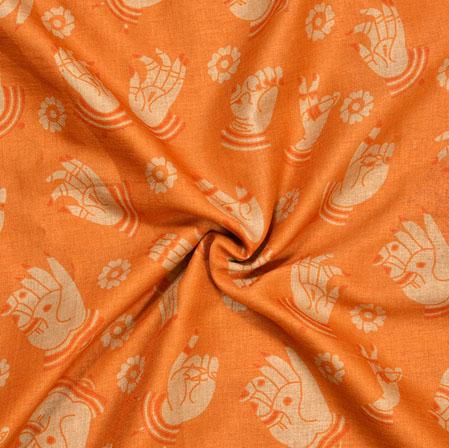 Orange Cream Hand-Mudra Print Manipuri-Silk Fabric-18030