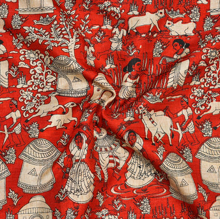Orange Cream Warli Print Manipuri-Silk Fabric-18019