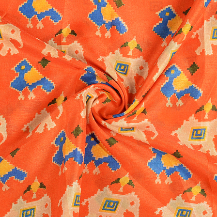 Orange-Cream and Blue Elephant Kalamkari Manipuri Silk Fabric-16284