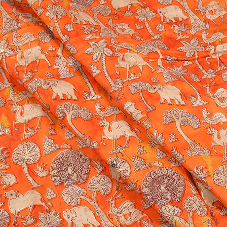Orange-Cream and Golden Jam Cotton Silk Fabric-75114