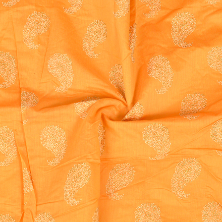 Orange-Cream and Silver Paisley Design Chanderi Silk Fabric-9021