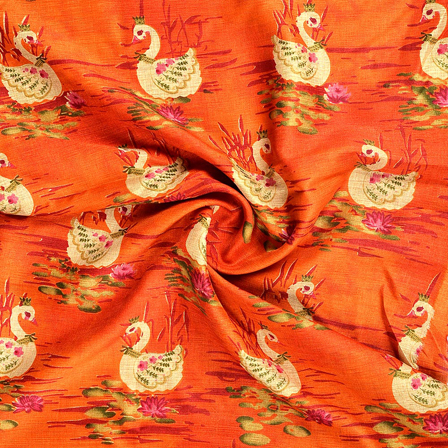 Orange-Cream and Green Kalamkari Manipuri Silk Fabric-16211