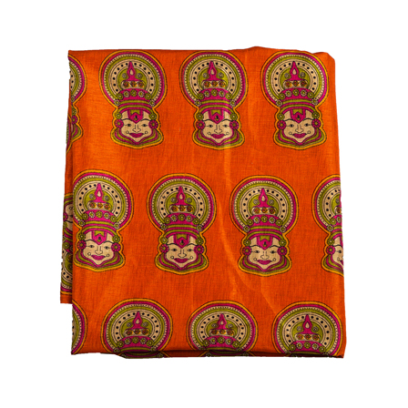 Orange-Cream and Green Kuchipudi Kalamkari Manipuri Silk Fabric-16302